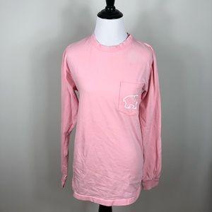 Ivory Ella Geometric Long Sleeve Tee Top Pink S